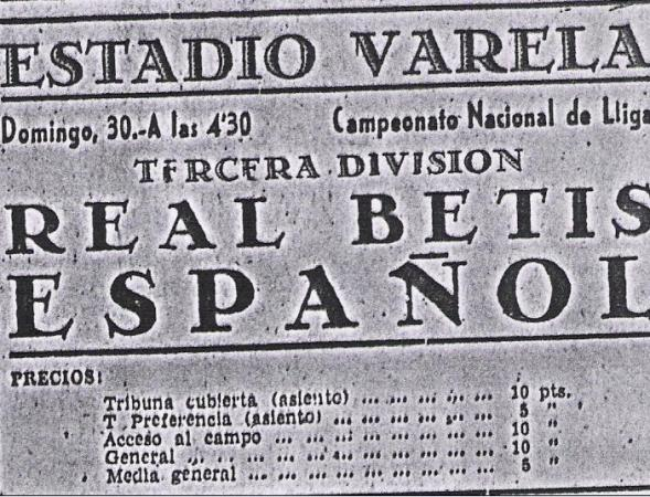 Hoy hace 69 años. Español de Tetuán 8 Betis 1.