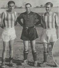"""""""El trío defensivo del Xerez lo forman estos 3 mozos: Jiménez-Larios-Somorribas.-Fuente AS-Madrid19351021."""