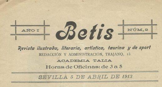 BETIS-Revista ilustrada, literaria, artística, taurina y de sport.-104 años.