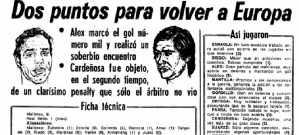 Hoy hace 36 años. Gol número 1.000 en Primera División.