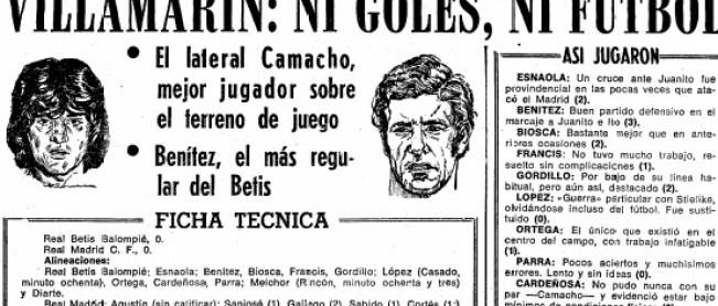 Hoy hace 38 años. Betis 0 Real Madrid 0.