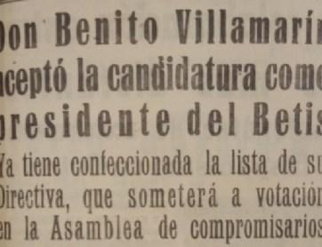 Hoy hace 65 años. Benito Villamarín es elegido presidente por la Asamblea de socios.