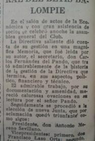 Hoy hace 87 años. Antonio Moreno Sevillano elegido presidente por la Asamblea de socios.