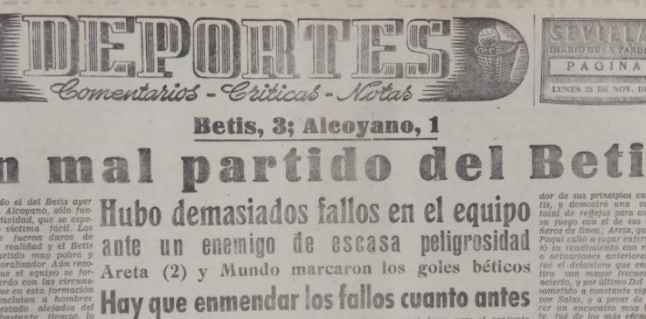 Hoy hace 63 años. Betis 3 Alcoyano 1.