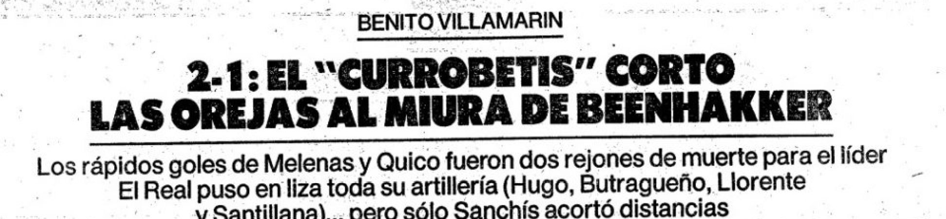 Hoy hace 33 años. Betis 2 Real Madrid 1.