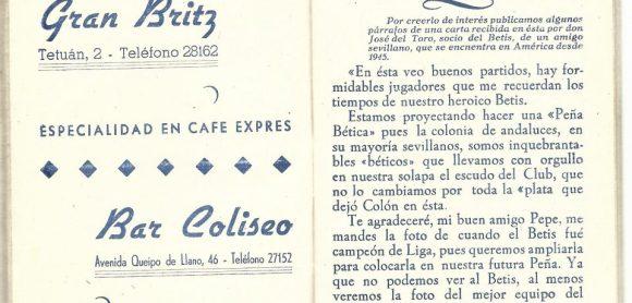 ¡¡Aupa Betis¡¡.-Carta desde Buenos Aires (Argentina).-Socio Real Betis Balompié-Don José Del Toro.-Recorte.