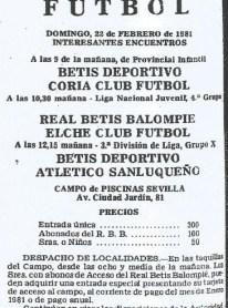 Jornada de cantera en Piscinas Sevilla 1981