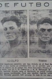 Hoy hace 90 años. Los canarios Adolfo y Timimi debutan con el Betis.