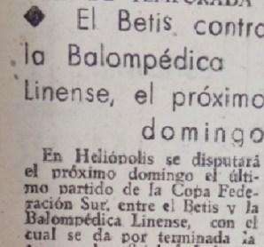 Hoy hace 72 años. Betis 5 Balompédica Linense 0.