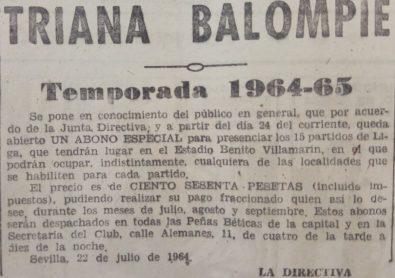 Anuncio abono del Triana Balompié 1964