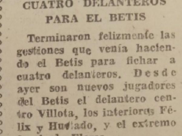 Hoy hace 67 años. Fichajes de Villota, Félix, Flores y Hurtado.