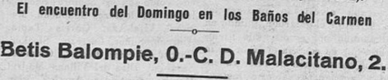 Hoy hace 84 años. Malacitano 2 Betis 0.