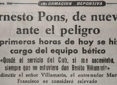 Hoy hace 54 años. Ernesto Pons sustituye a Martim Francisco.