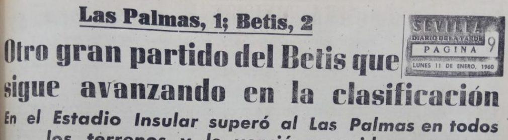Hoy hace 60 años. Las Palmas 1 Betis 2.