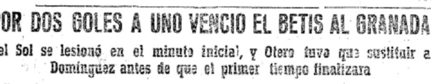 Hoy hace 60 años. Granada 1 Betis 2.