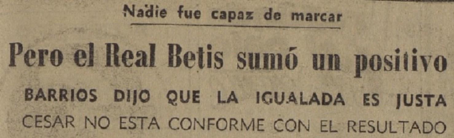 Hoy hace 50 años. Hércules 0 Betis 0.