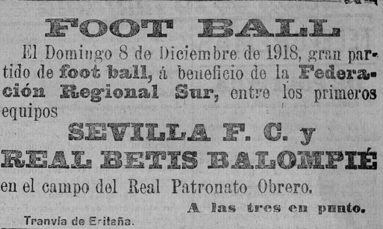 Anuncio Betis-Sevilla Amistoso 1918.