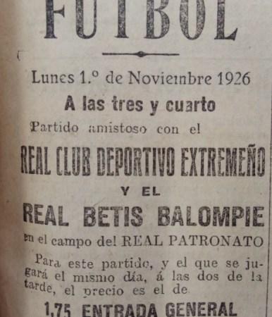 Betis-Extremeño Amistoso 1926.