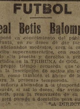 Anuncio del Betis 1947.