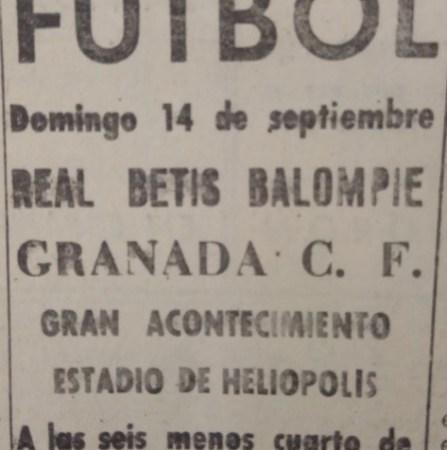Hoy hace 80 años. Betis 4 Granada 3.