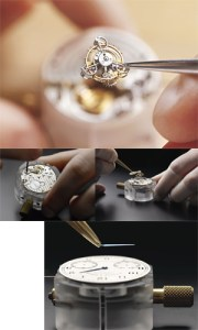 Stages of assembly of an ultra-model A. Lange & Söhne timepiece