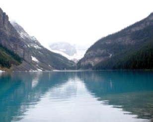The emerald colour of Lake Louise,comes from rock flour