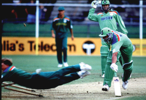 Jonty Rhodes takes off