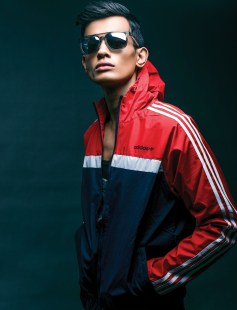 Jacket by adidas Originals, Rs 5000; vest by Pepe, Rs 1299; sunglasses by Emporio Armani