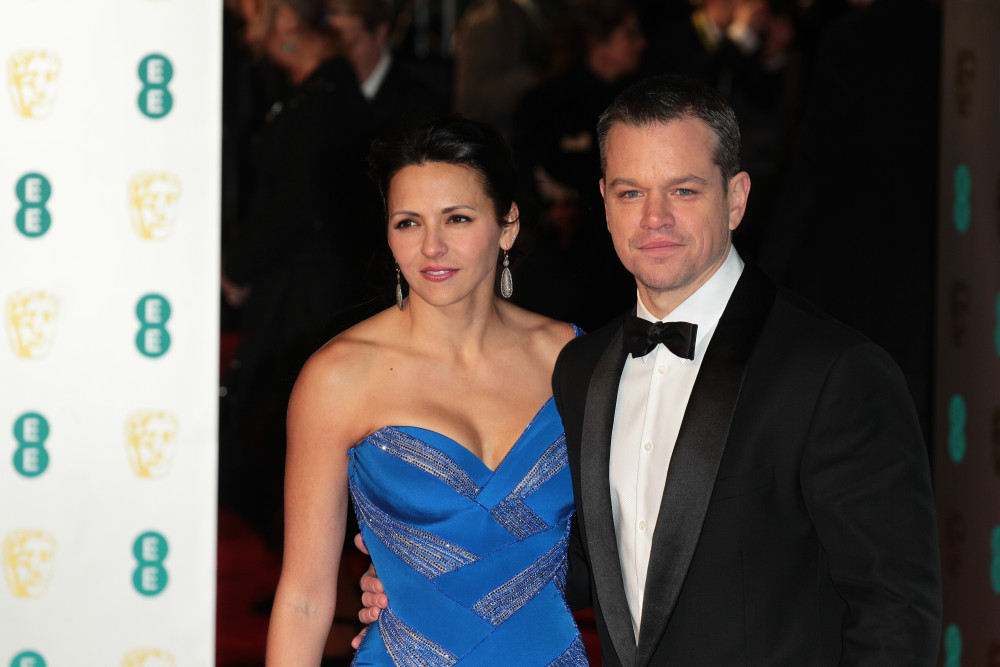 Matt Damon and Luciana Barroso attend the EE Bafta British Academy Film Awards at the Royal Opera House on Feb 14, 2016 in London