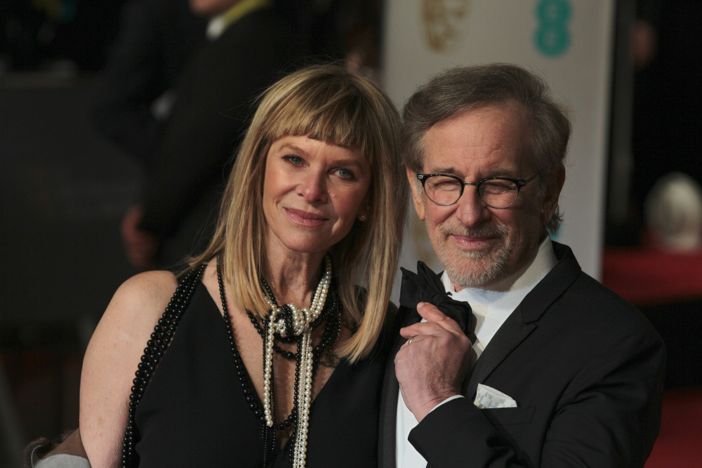 Kate Capshaw and Steven Spielberg attend the EE Bafta British Academy Film Awards at the Royal Opera House on Feb 14, 2016 in London