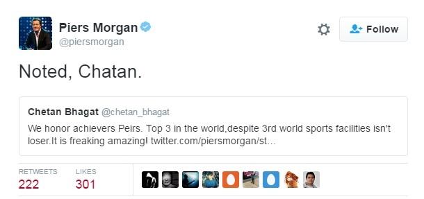 Chetan bhagat Piers Morgan on Twitter