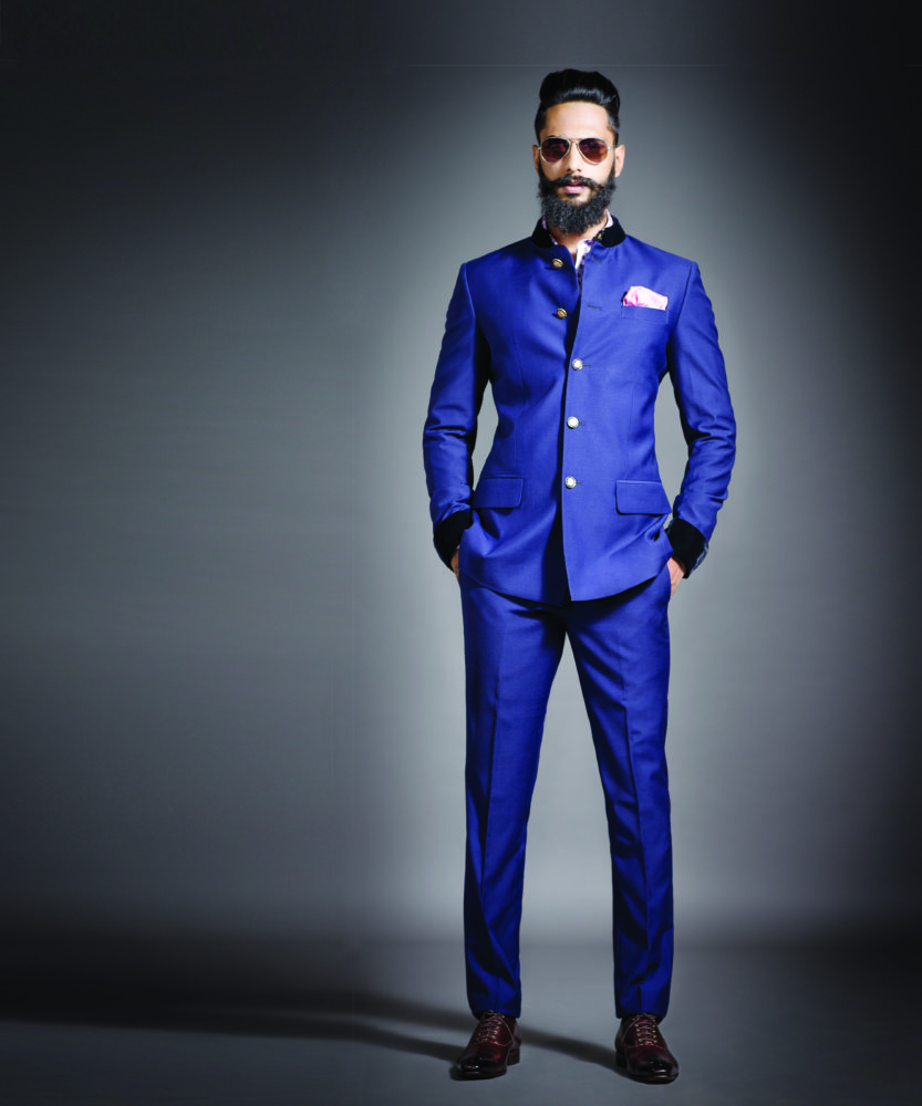 raghavendra-rathores-bandhgala-suit-with-velvet-finish-on-cuffs-collar-paired-with-jeweled-buttons