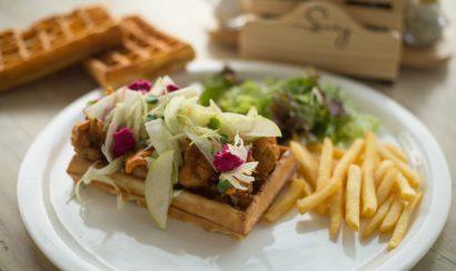 Khimchi fried broccoli waffle