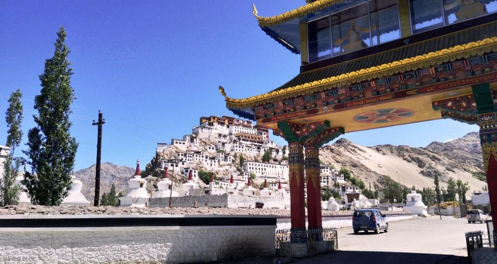 Thiksay Gompa or Thiksay Monastery is a gompa affiliated with the Gelug sect of Tibetan Buddhism. It is located on top of a hill in Thiksey village, approximately 19 kilometres east of Leh
