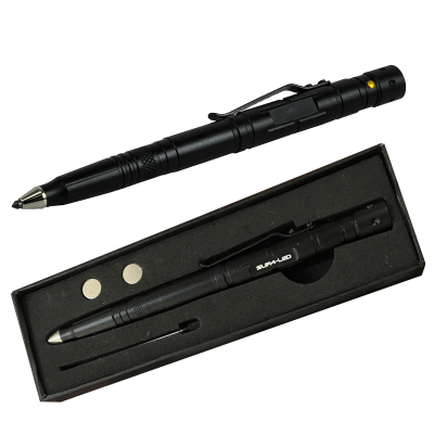 Supa-LED Tactical Pen with Flashlight (Black)