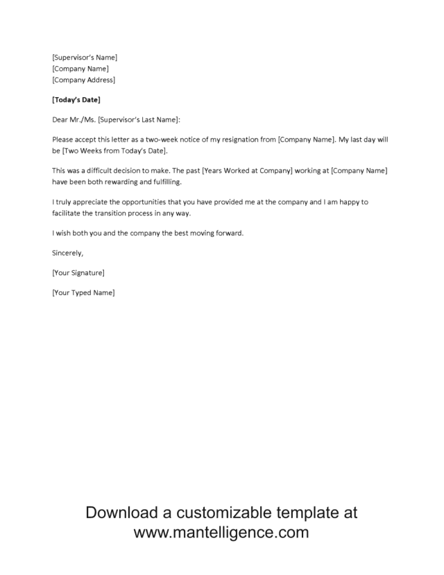 Write my 17 week notice letter