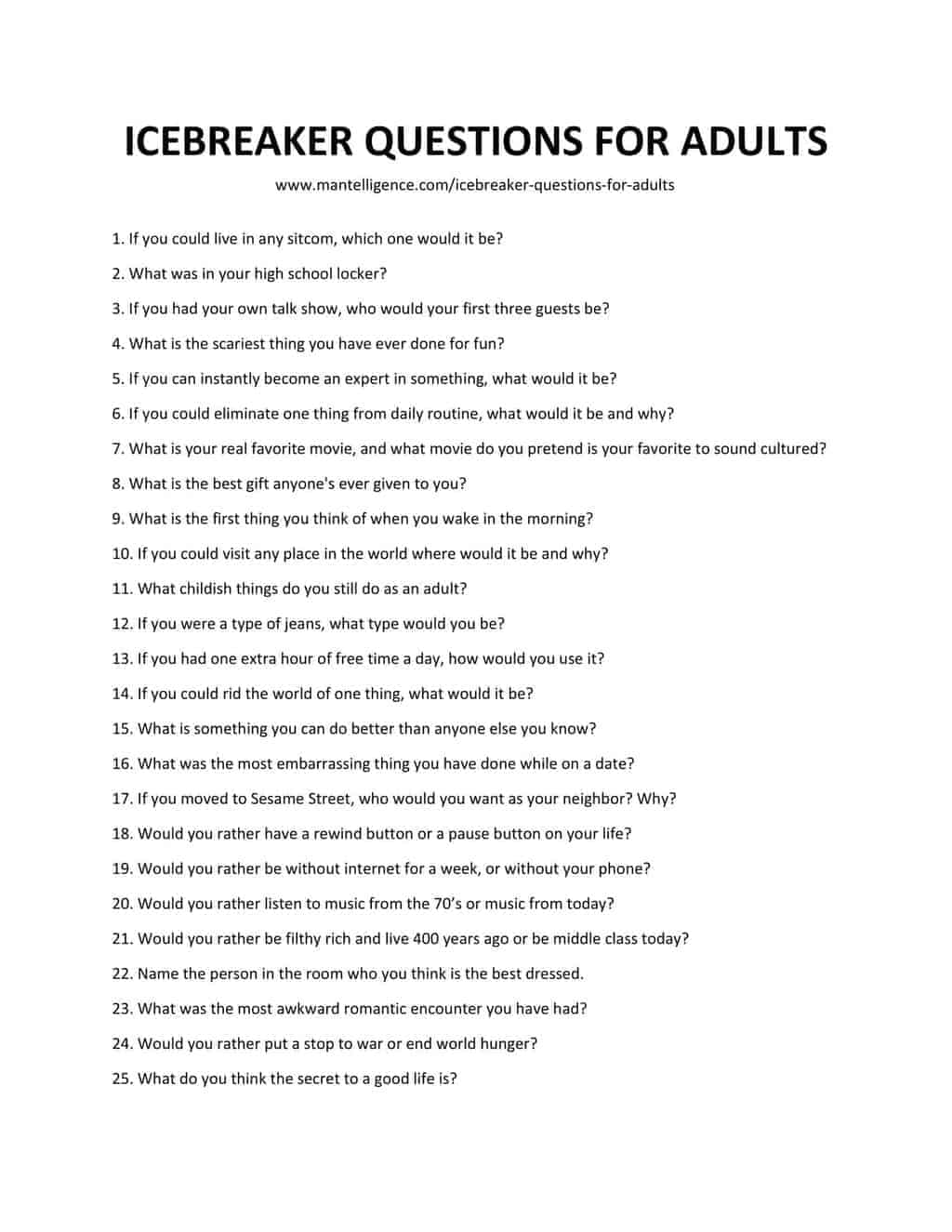70 Icebreaker Questions For Adults