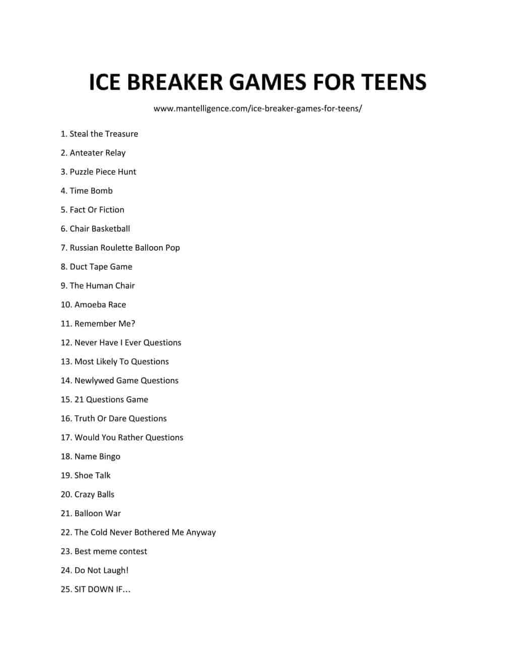 49 Best Ice Breaker Games For Teens