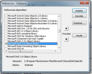 Ventana de referencias con Microsoft DAO 3.6 seleccionada