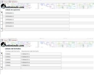 Formularios de creación de operarios y formatos