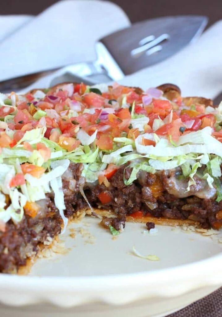 Loaded Taco Pie An Easy Beef Taco Pie Dinner Recipe