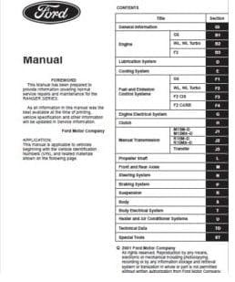 Manual Ford Ranger 1997 Reparación