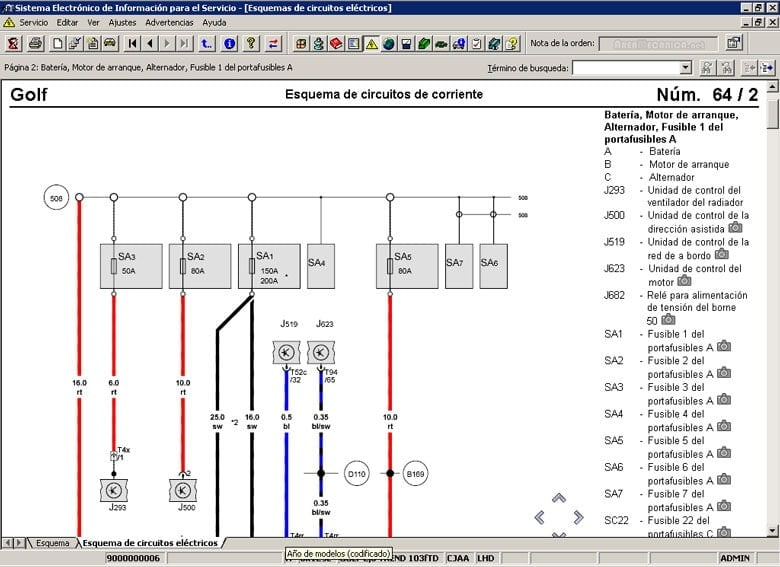 Manual Audi S6 2011 Reparación y Servicio de sistema eléctrico, switch de elevador, fusibles, computadora automotriz, cables de bujías, relay de control, limpiadores, sistema de audio, sistema de alarma, sistema de luces, sensores