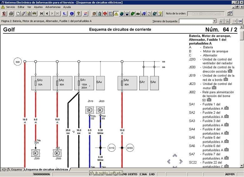 Manual Volkswagen Bora 2000 Reparación y Servicio de sistema eléctrico, switch de elevador, fusibles, computadora automotriz, cables de bujías, relay de control, limpiadores, sistema de audio, sistema de alarma, sistema de luces, sensores