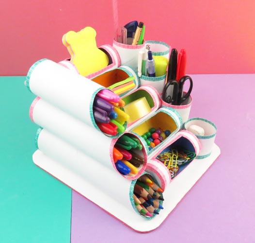 organizador de escritorio con tubos de cocina