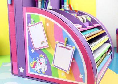 Organizador de escritorio de carton unicornio