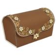 Papercraft recortable y armable de una caja de regalo marrón con flores. Manualidades a Raudales.