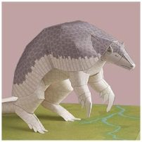Papercraft imprimible de un armadillo gigante. Manualidades a Raudales.