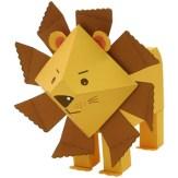 Papercraft imprimible y armable de un León infantil / Lion. Manualidades a Raudales.