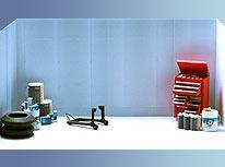 Papercraft de accesorios de taller mecánico de Yamaha. Manualidades a Raudales.